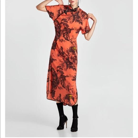 a13c99c5c85 Zara Printed Satin Dress. NWT